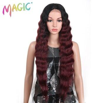 Магия 32 дюймов бесклеевого жаропрочных волос Длинные Deep Волнистые T Синтетические волосы на кружеве парики Ombre Красный синтетический Синте...