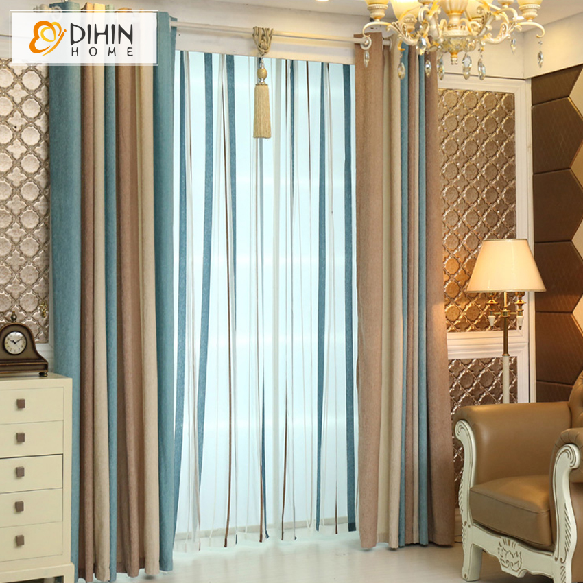 Modern Style Striped Curtains Window Screening Custom Made Curtains For Living Room High Quality
