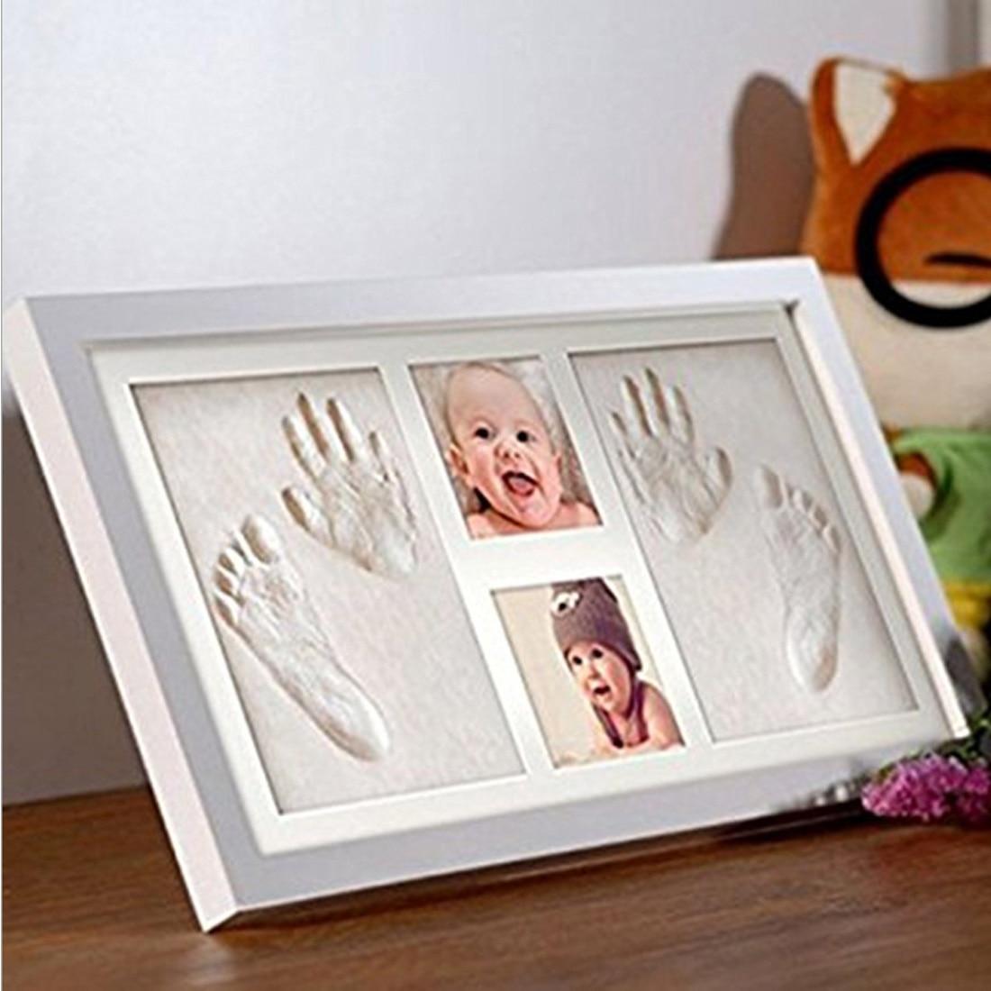 Rose bricolage Photo cadre nouveau-né bébé empreinte de main sans encre tactile Pad fille/garçon bébé douche cadeau décoration - 2