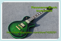 Wholesale Retail First Top Quality Electric LP Custom Guitar Binding Green Finish Flame Maple Veneer Guitar