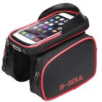 B-SOUL 6.2 Inç Su Geçirmez Bisiklet Dokunmatik Ekran Çanta Ön Çerçeve üst Cep Telefonu TPU Döngüsü Çanta MTB Yol Dağ Bisiklet aksesuarları