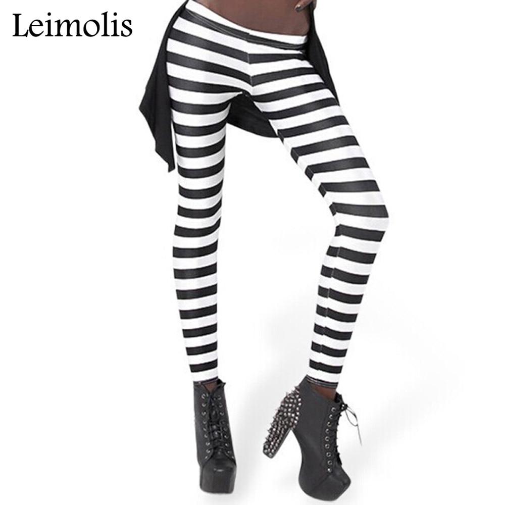 Leimolis 3D Printed Fitness Push Up Workout Leggings Women Circle Striped Plus Size High Waist Punk Rock Pants