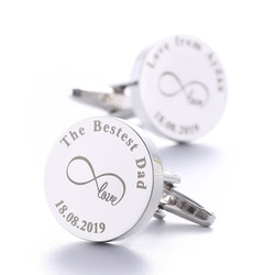 Fathers Day Gifts Personalized Cufflinks Silver Round Custom Engraved Cuff links The Besest Dad Lettering Name Birthday Gift