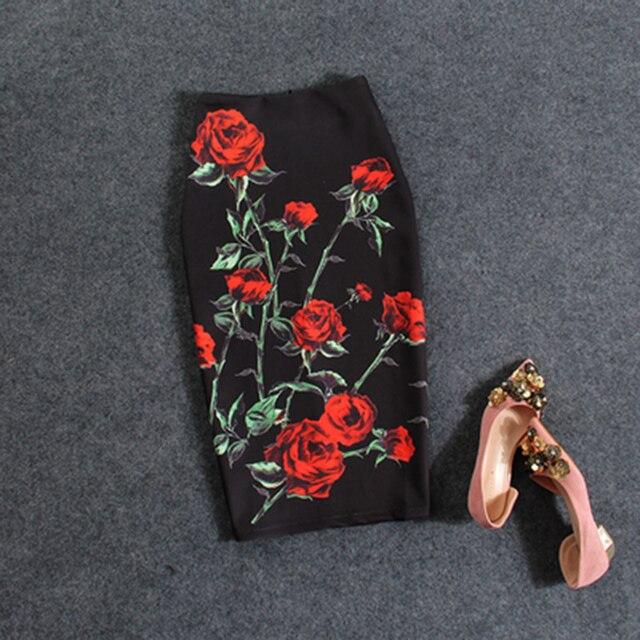 Модные цветочные красные розы печати женские юбки карандаш Леди Midi saias женский Faldas девочек черные плавки M-XXL юбка оптовая продажа