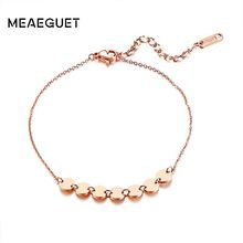 585 Rose Gold Girls Anklets Stainless Steel Ankle Bracelets Foot Chain For Women Seven Small Round Coins Jewelry Gift(China)