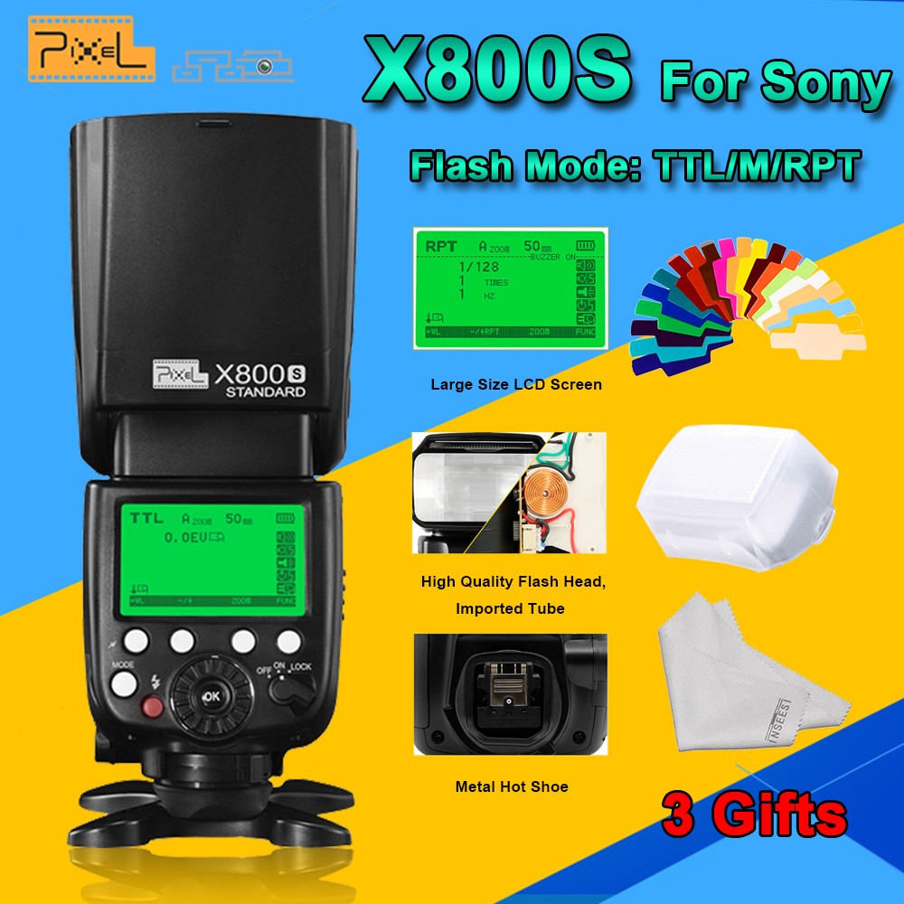 Pixel X800S Standard 2.4G Wireless GN60 TTL HSS Camera Flash Speedlite For Sony A7 A77 A7R RX1 A6000 A6300 DSLR Vs X800N Yongnuo pixel x800s standard gn60 hss ttl flash speedlite 2pcs king pro 2 4g flash trigger transceivers for sony a7 a7s a7r a7rii