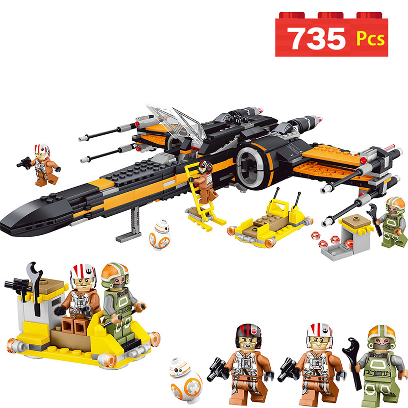 цена на 05004 Poe's X-wing Starwars Fighter Building Blocks Fighter Assembled Fighter Compatible with LegoINGLYS Star Wars X Wing Toys