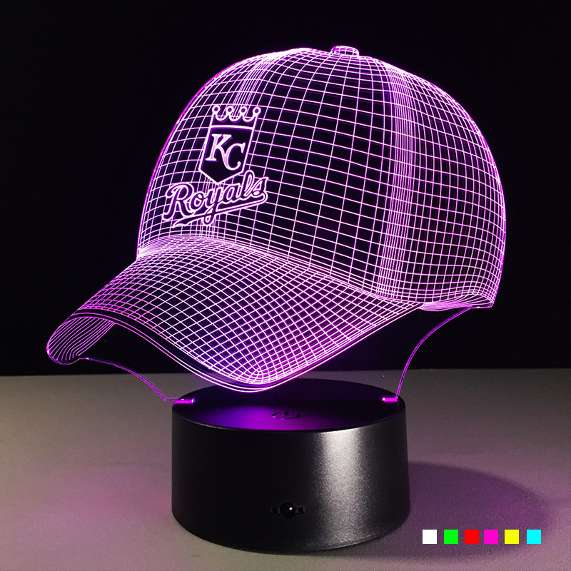 3D LED NFL KC Royals Football Helmet Night Light Touch 7 Colors Desk Lamp Changing USB Table lamps For Children Kid Gifts Toys