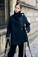 المرأة الجديدة الدانتيل يصل الصوف المعاطف الشتوية النساء الأسود الياقة معطف سميك دافئ أنثى عارضة زر معطف