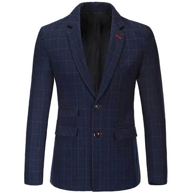 2016 nuevo otoño de Nueva Inglaterra de los hombres de lana traje chaqueta de un solo pecho dobladillo recto
