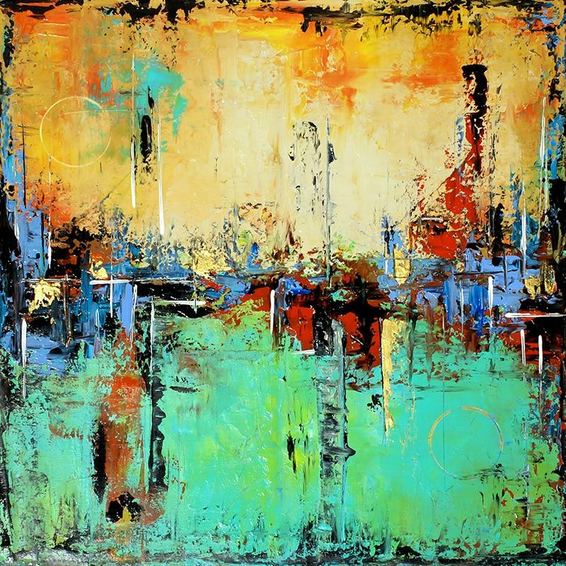 Grand abstrait Aqua vert et crème sarcelle peinture abstraite, Art moderne or accents mur art peinture sur toile contemporain