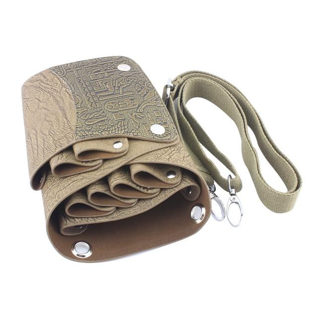 Top grade Leather Barber Scissor Bag Salon Hairdressing Holster Pouch Case with Waist Shoulder Belt