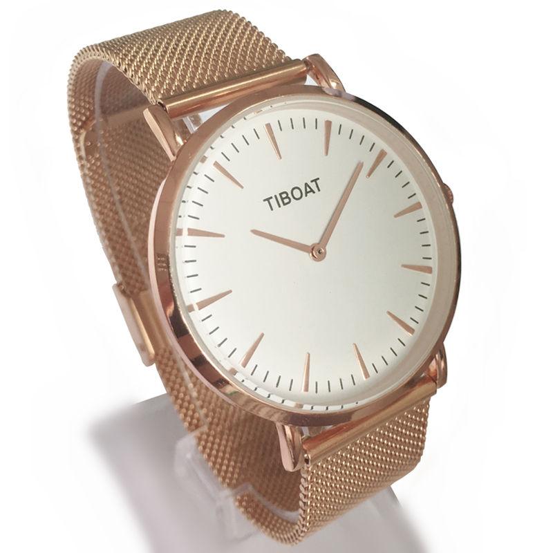 TIBOAT מותג אופנה נשים רוז זהב נירוסטה - שעונים לנשים