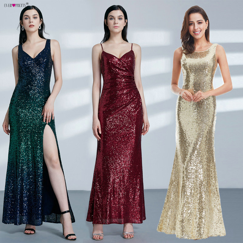 Guld Long Evening Dress Ever Pretty Back Cowl Hals EP07110GD Shine Sequin Sparkle Eleganta Kvinnor 2018 Afton Festklänningar