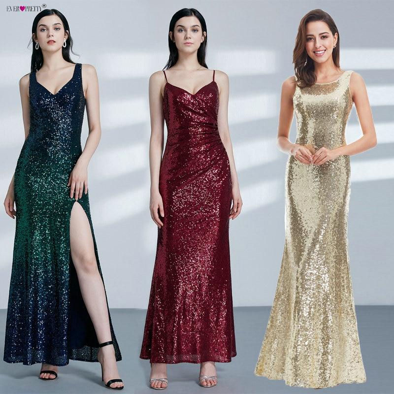 Guld Long Evening Dress Ever Pretty Back Cowl Hals EP07110GD Shine - Särskilda tillfällen klänningar