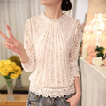 2016 Desgiual New Solid White M L 2XL Stand Collar Lace Long Sleeve Cozy Fashion Casual Women Tops Hollow Out Shirts