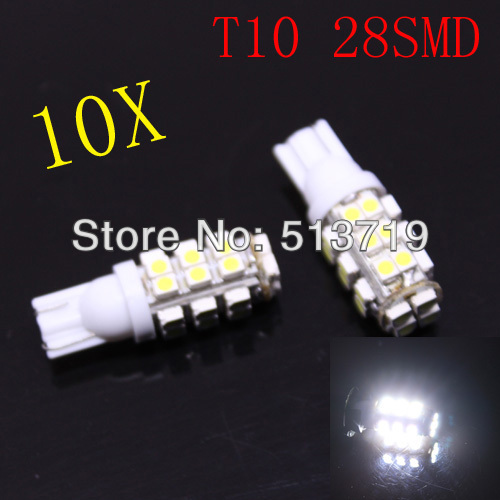 Dongzhen wholesale 10pcs T10 Car High Power 168 194 W5W White 28 SMD LED Wedge Light Bulb Lamp 12V image