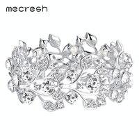 White K Plated Leaf Rhinestone Crystal Bracelet Anniversary Christmas Gift For Womens SL108