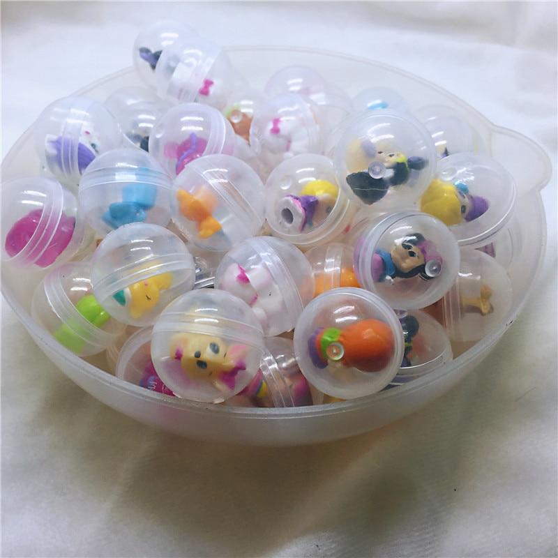 200 pc/paquet diamètre 2.8 cm capsules en plastique transparent jouet balles avec différentes figurines jouets mini poupées mélanger pour distributeur automatique