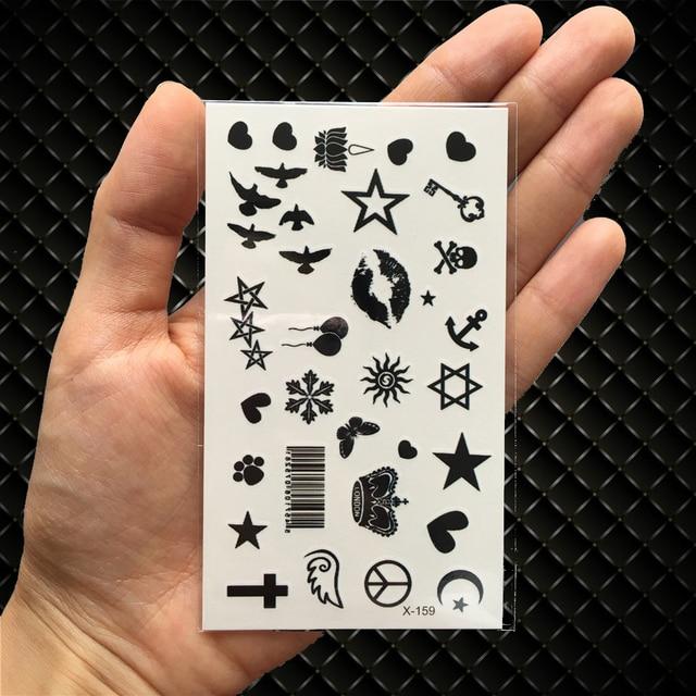 Hot Small Sexy Lips Leaf Black Cartoon Temporary Tattoo Cute Star Tattoo Sticker Love Women Body Finger Art Waterproof Tatoo Kid 1