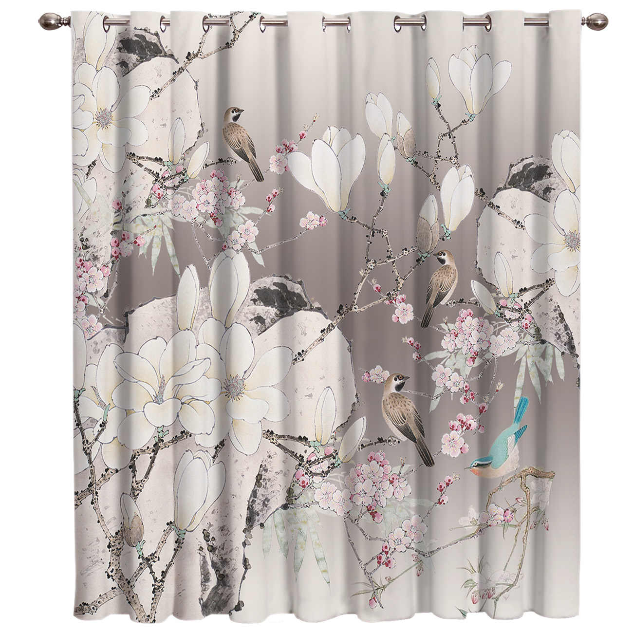 Gray China Flower And Brid Window Treatment Ideas For Large ...