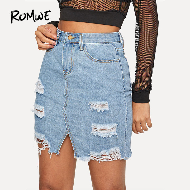 ROMWE Blue Casual High Waist Split Ripped Hem Straight Denim Short Skirts Women Summer Sexy Hole Solid Mini Skirts
