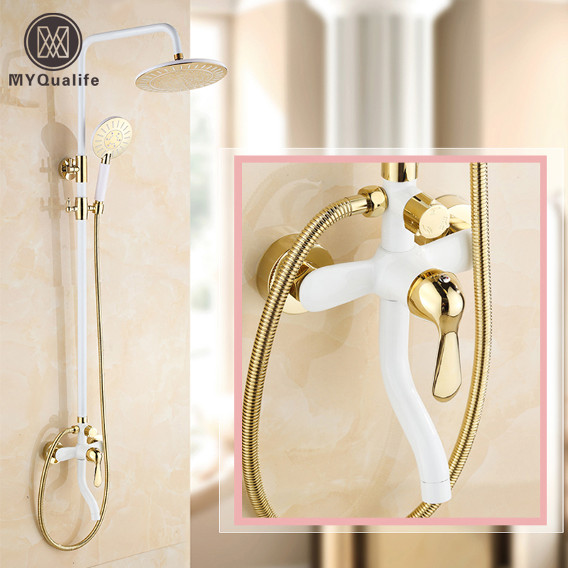 White and Golden Luxury Shower Mixer Faucet One Handle Tub Shower Set Wall Mount 3-functions Mixer Taps все цены