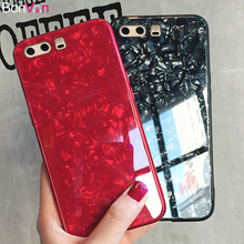 BONVAN Tempered Glass Case For Huawei P10 Plus Marble Hard Back Cover Silicone Bumper Dream Shell Glitter