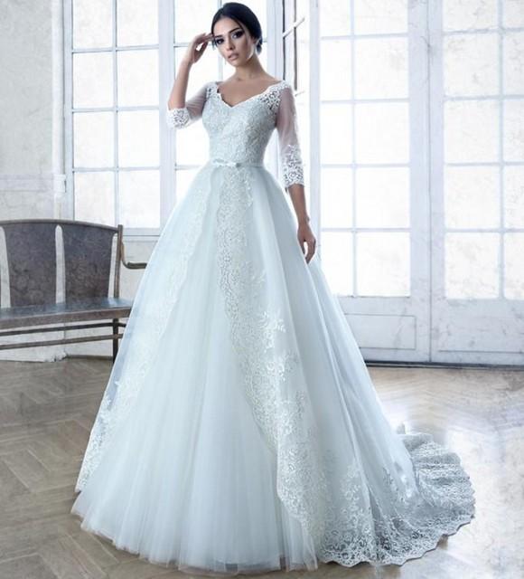 romántica elegante tul de manga larga vestidos novia de encaje