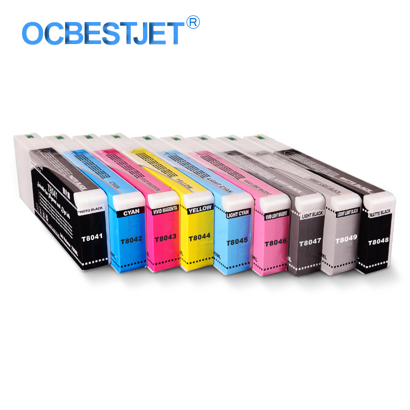 9Colors/Set T8041 T8049 Compatible Ink Cartridge Filled With Pigment Ink For Epson SureColor P6000 P7000 P8000 P9000 700ML/PC