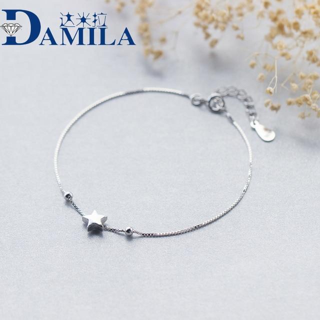 f302cd121505 Pulsera plata 925 sola caja mate cadena estrellas pulseras para las mujeres  moda Lady hypoallergenic Sterling