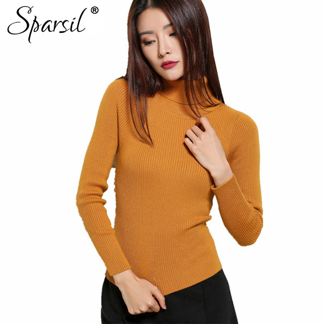 Sparsil Women's Autumn Winter Slim Style Turtleneck Cashmere Blend Sweater Full Sleeve Knitted Pullover Sweaters