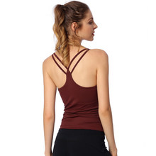 Hot Yoga Push Up Singlets Women Sleeveless Running Shirt Padded Removable Sportwear Workout Cross Strap Vest Crop Tops Shapewear(China)