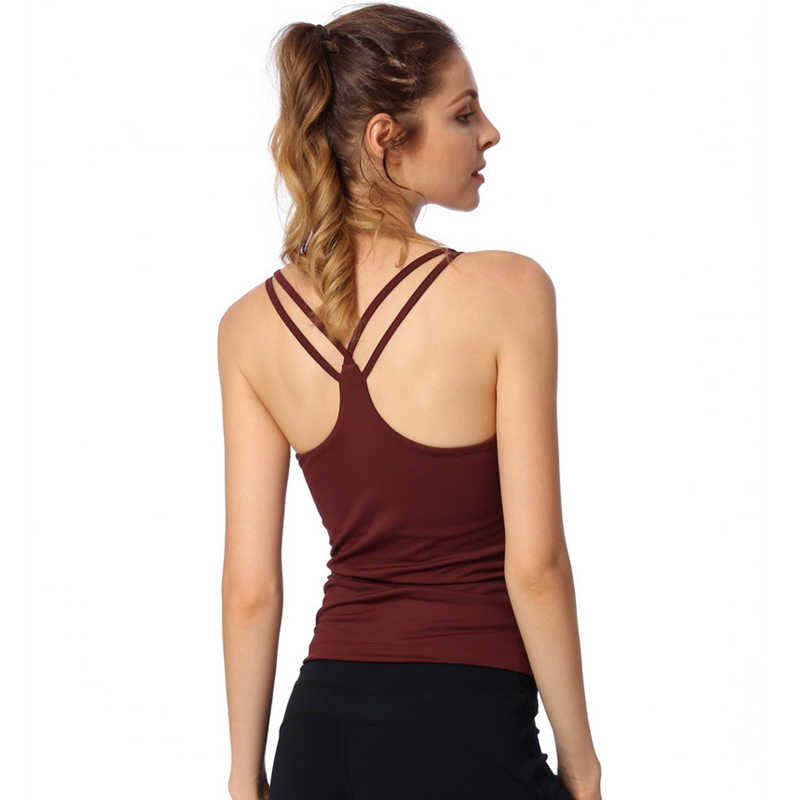 Hot Yoga Push Up Singlets Women Sleeveless Running Shirt Padded Removable Sportwear Workout Cross Strap Vest Crop Tops Shapewear