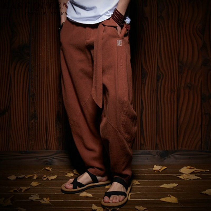 Traditional Chinese clothing for men wushu clothing kung fu pants linen male Chinese pants wing chun clothing   AA956
