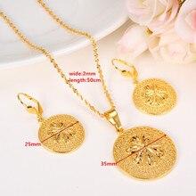 Nueva Moda Joyería Conjunto Colgante de Collar y Aretes de Moda Diseño del Círculo de Etiopía 24 k GF Oro Amarillo Sólido Fino