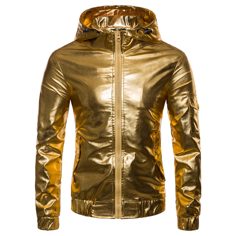 Pure color mens hooded coat autumn gold and silver PU jacket men xxl