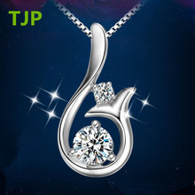 TJP Shiny 925 Sterling Silver Pendants Necklace For Women Wedding Cute Mermaid Design Female Engagement Jewelry Valentines Day