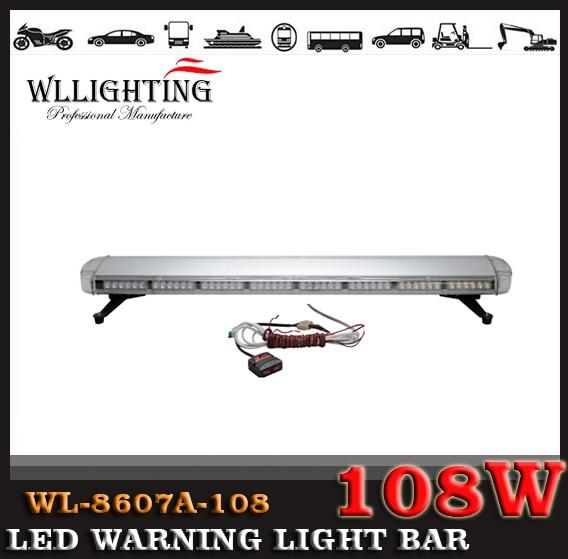 free shipping 12-24v 53Inch 108 LED Emergency Warning Lights Long Row Car Light Warning lightbar Flashing Light Bar Amber