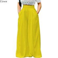 Doyell – pantalon Palazzo ample pour femme, taille haute, jambes larges, plissé, Long, extensible, avec poches