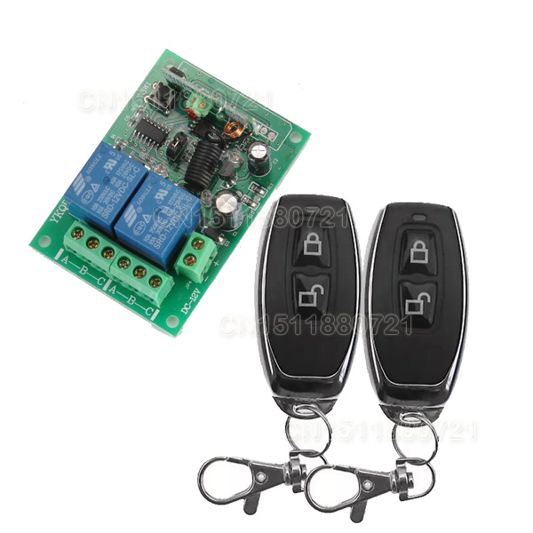 12V 2CH wireless remote control switch Receiver&Transmitter ON OFF Switch Learning code Toggle Momentary Latched 315/433MHZ 315 433mhz 12v 2ch remote control light on off switch 3transmitter 1receiver momentary toggle latched with relay indicator