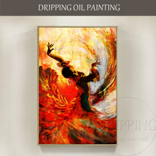 Free Shipping Artist Hand-painted Flamenco Dance Oil Painting on Canvas Gorgeous Dancer Figure for Decor