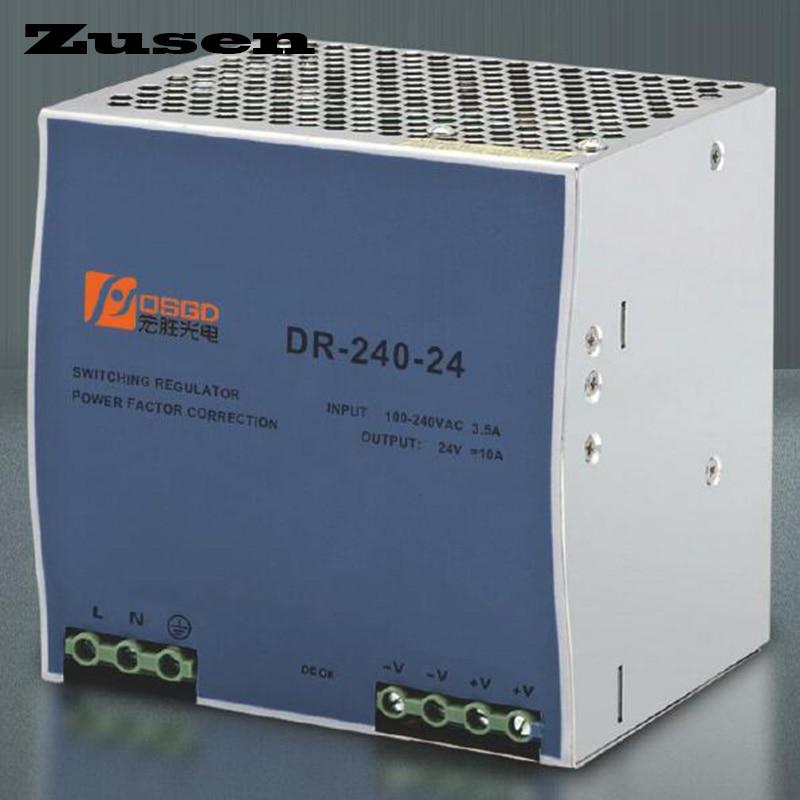 Zusen DR-240W 12V 24V 36V 48V overload protection Din Rail Switch Power supply 110/220VAC