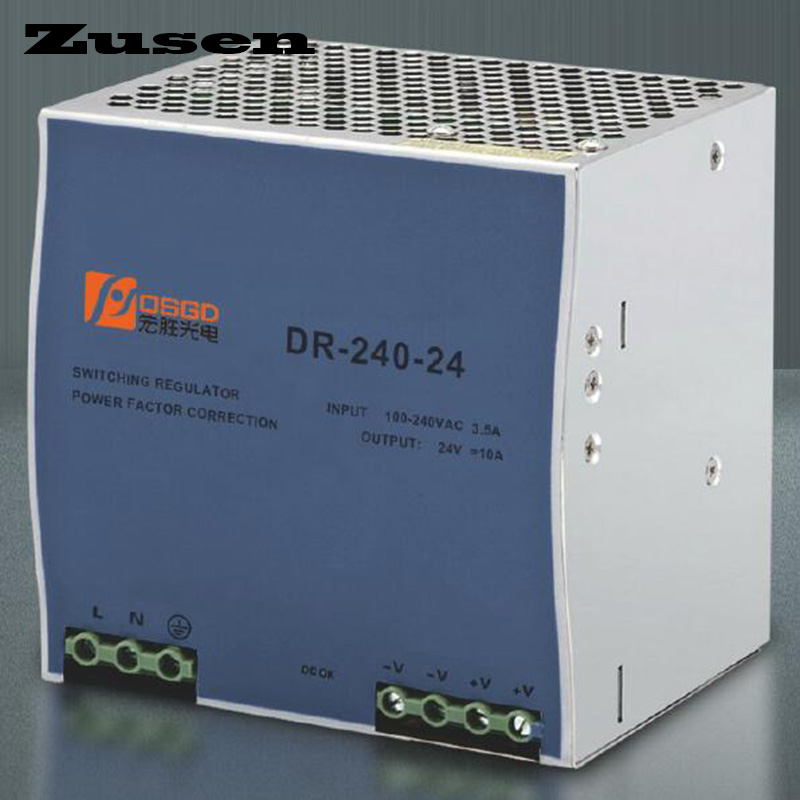 Zusen DR-240W 12V 24V 36V 48V overload protection Din Rail Switch Power supply 110/220VAC butterfly shape flat compressor switch overload protection switch