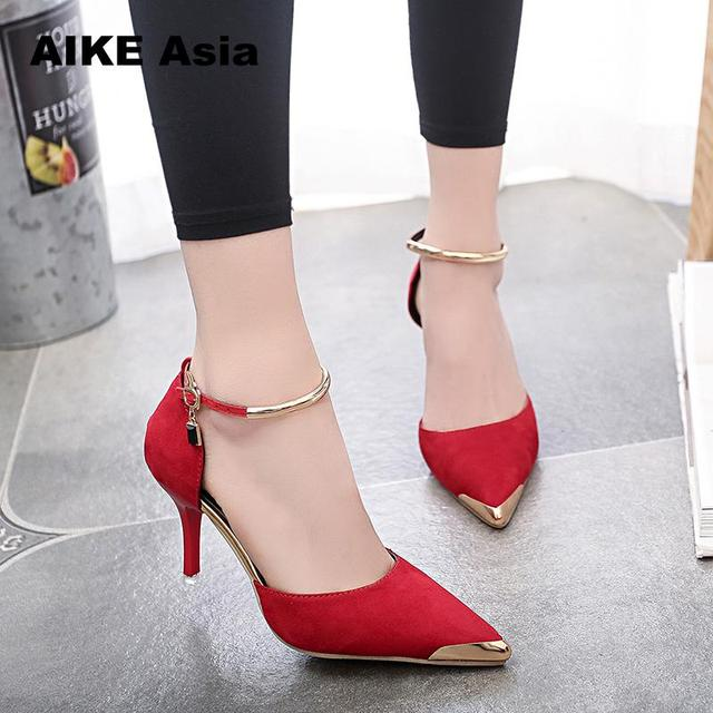 4e4adc71364a Aike Asia Women Suede Pumps High Heels Sexy Shoes Pointed Toe Thin Heel  Ladies Wedding Metal