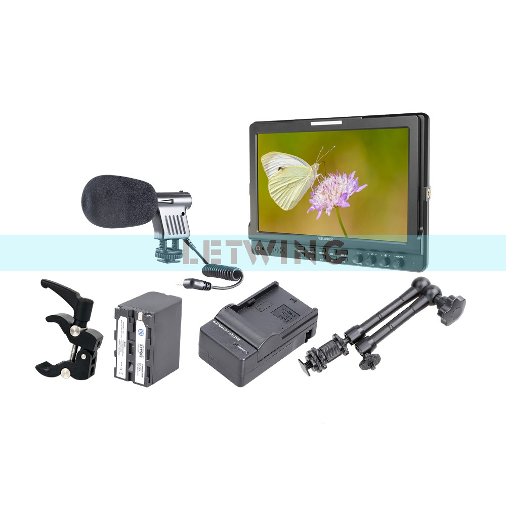 FEELWORLD FW1019 10.1 IPS 3G-SDI HD Camera Monitor + NP-F970 Battery Charger + 11 Magic Arm + Super Clamp + Microphone np f960 f970 6600mah battery for np f930 f950 f330 f550 f570 f750 f770 sony camera