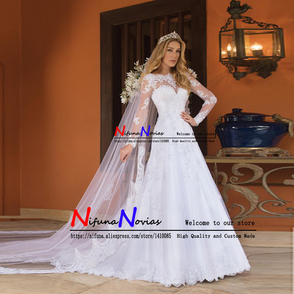 Sexy Back Bride Dress Lace Luxury Sheer Tulle Long Sleeve Wedding Dress 2019 Beaded Mariage robe Bridal Gowns vestido de noiva-in Wedding Dresses from Weddings & Events    3