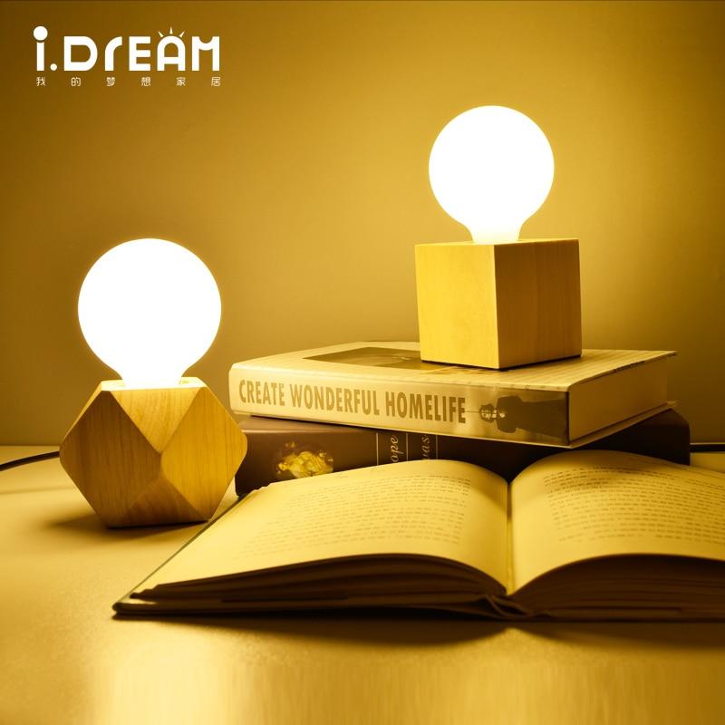 IDERAN Table Lamp Wooden Base Book Lights E27 Holder Mini Retro Bedside Lamp Modern Desk Night