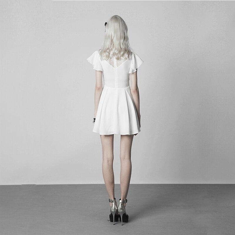 فاسق الهذيان القوطية النساء أزياء من الدانتل خياطة V طوق نبات اللوتس أنيقة الأبيض ضئيلة النسخة تجعد مقاومة الشيفون اللباس-في فساتين من ملابس نسائية على  مجموعة 2