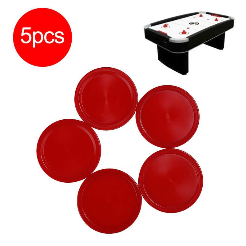 5 PCS 2019 ใหม่คุณภาพสูงเด็กเกมตารางในร่มเล่นของเล่นทนทานพลาสติกสีแดง Mini Air ฮอกกี้ตาราง Puck